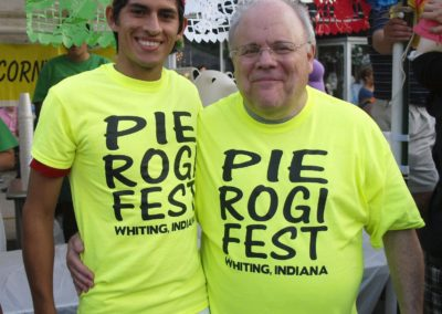 Brother Ben Basile, C.PP.S., right, at Whiting, Indiana's Pierogi Fest.