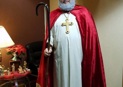 Brother Tim Cahill, C.PP.S., as St. Nick during a celebration at St. Peter School in Dayton.
