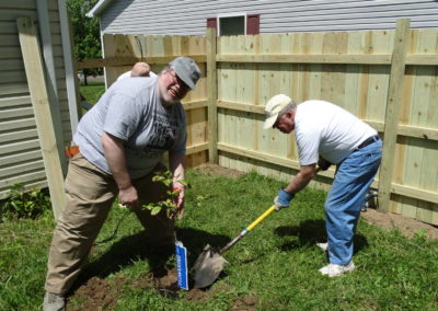 Fr. Steve Dos Santos, C.PP.S., and Brother Joe Fisher, C.PP.S., volunteer at a Habitat for Humanity site in Dayton.