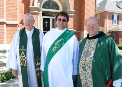 Deacon Matthew Keller, C.PP.S., with St. John's former pastor, left, Fr. Ken Schroeder, C.PP.S., and current pastor, Fr. Gene Schnipke, C.PP.S.
