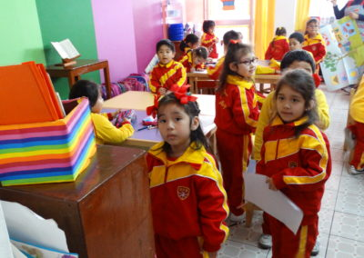 Youngsters ready for the day at San Borja School, Lima, Peru.