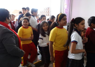 Students line up after recess at San Borja School, Lima, Peru.