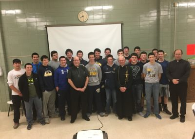 Fr. Rick Friebel, C.PP.S., and Br. Jerry Schulte, C.PP.S., at a religious education class.