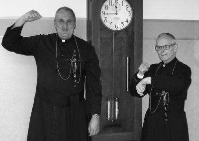 C.PP.S. Frs. Scott Kramer and Harry Brown show their strength at the Sorrowful Mother Shrine.