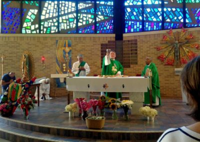 Fr. Steve Dos Santos, C.PP.S., presides at Hispanic Sunday at the Sorrowful Mother Shrine.