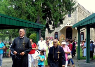 Procession during Hispanic Sunday at the Sorrowful Mother Shrine.