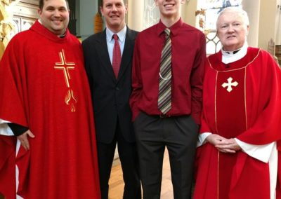 C.PP.S. Frs. Jim Smith (left) and Bill O'Donnell after confirmation at St. Henry Cluster parishes.
