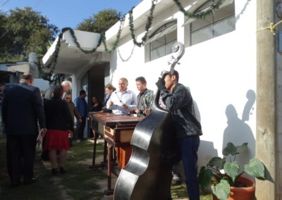 Musicians playing before the Mass celebrating the dedication of the newly built chapel at El Chan II in Guatemala.