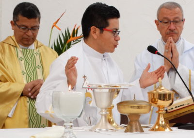Mass celebrating the dedication of the newly built chapel at El Chan II in Guatemala.