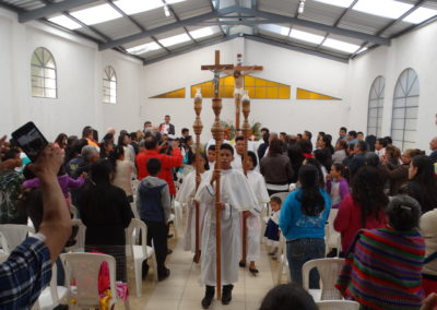 Recessional procession during the Mass dedicating the newly rebuilt chapel at El Chan II in Guatemala.