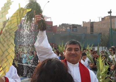 Fr. Maximo Mesia, C.PP.S., during Palm Sunday Mass in Peru.