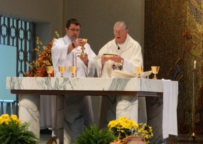 Fr. Ken Schroeder, C.PP.S., with Deacon Matthew Keller, C.PP.S., at Wednesday's Mass.
