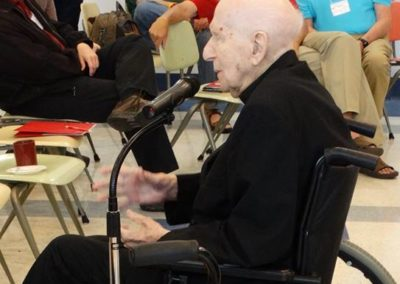 Fr. Len Kostka, C.PP.S., who at 104 is the oldest living C.PP.S. member in the world, delights and inspires the assembly with his message on Wednesday afternoon.
