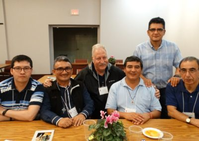 C.PP.S. members from Latin America at the reception following the liturgy. From left: Frs. Diego Gallardo, Antonio Arcelno Magalhaes, Jose Deardorff, Maximo Mesia, Edgardo Chero and Luis Briones.
