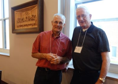 Discussing all things ag, Br. Nick Renner, C.PP.S., talks with Companion Bob Duling. Catherine Duling