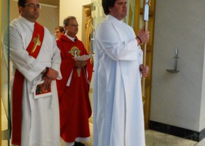From left, Deacon Matthew Keller, Fr. Larry Hemmelgarn and Greg Evers.