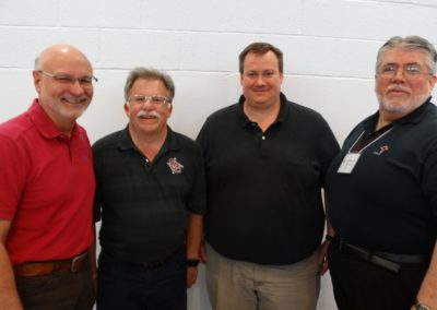 Newly elected councilors include (from left) Frs. Ben Berinti, Tim McFarland, and, at far right, Fr. Steve Dos Santos Cpps. Second from right is Fr. Jeffrey Kirch, C.PP.S., who was elected provincial director.