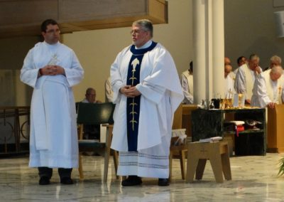 Fr. Steve Dos Santos Cpps, presides at Mass at the assembly on Thursday, the Feast of Mary Help of Christians, a patroness of the Congregation. Deacon Matthew Keller, C.PP.S., is at left.