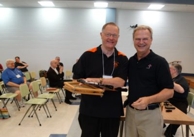 Fr. Rick Nieberding, C.PP.S., honored at the assembly for his work with youth at St. Augustine Parish in Minster, Ohio, & St. Joseph, Egypt, Ohio, and throughout his life as a priest. At right is Fr. Larry J Hemmelgarn, C.PP.S., provincial director.