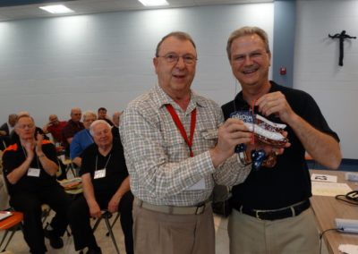 Fr. Louis Schmit, C.PP.S., recognized for his long-time volunteer commitment to Buckeye Boys State. Fr. Larry Hemmelgarn, C.PP.S., provincial director, is at right.
