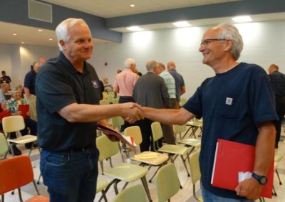 Br. Rob Reuter, C.PP.S., right, congratulates Br. Tom Bohman, C.PP.S., on his election to provincial council.