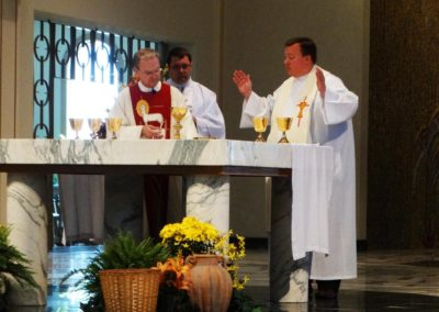 During the closing Mass, from left, Fr Larry Hemmelgarn, C.PP.S.; Deacon Matthew Keller, C.PP.S.; and Fr. Jeffrey Kirch, C.PP.S.