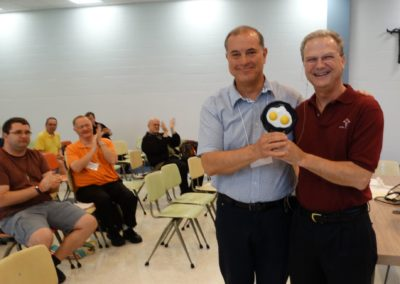 Fr. Anthonio Baus, C.PP.S., left, was presented with the Good Egg Award, given to a priest or brother who puts forth extraordinary effort for the Community. At right is Fr. Larry Hemmelgarn, C.PP.S., provincial director.
