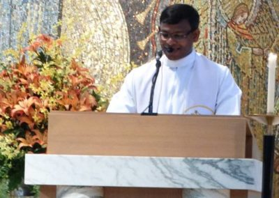 Fr. Nuthulapati Jayababu, C.PP.S., lectors during Wednesday's Mass in Assumption Chapel.