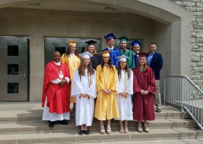 Fr. Alfons Minja, C.PP.S., with 2018 graduates of Our Lady of Guadalupe Parish, Montezuma, Ohio.