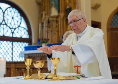 Fr. Jim Dugal, C.PP.S., celebrating Mass at the Maria Stein Shrine of the Holy Relics. Photo credit: Anthony Dugal.