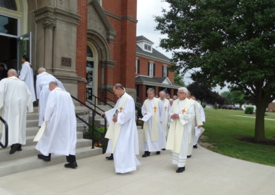 Missionaries of the Precious Blood ready to take their place in the procession before Mass.