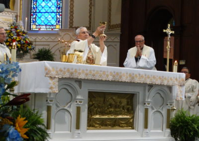 The bishop during the Eucharistic Celebration.
